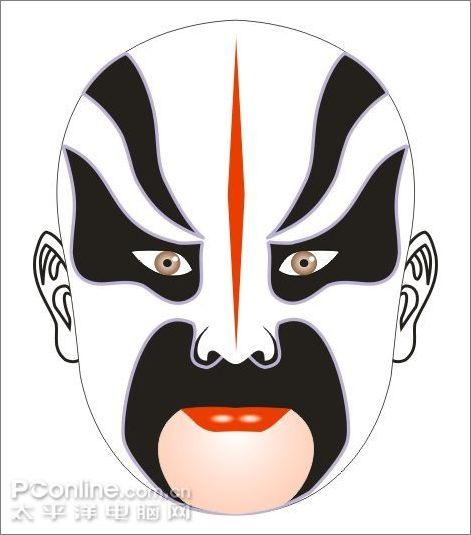 coreldraw:绘制中国京剧马谡的脸谱