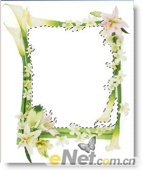 边框】图层使用魔棒工具(快捷键w)选取框中白色区域