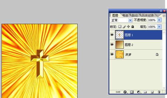 photoshop教程:极坐标滤镜打造黄金闪光十字架