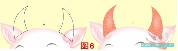 填充颜色,牛鼻用放射状填充左色码:#FFEEEE,右色码: #FF9988。鼻孔外圈用纯色填充色码:#FFEEEE,鼻孔用放射状填充左色码:#FFDDDD,右色码:#EE333D。牛舌用纯色填充色码:#EE333D,牛舌高光用放射状填充左色码:#FFFFFF,100%,右色码:#FFFFFF,50%。嘴角用纯色填充色码:#6C1A2F。下巴用放射状填充左色码:#FFEEEE,右色码: #FF9988。删除笔触,图层上锁。如图5