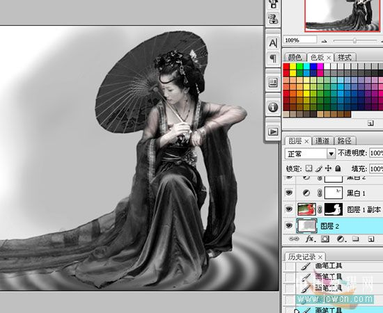 黑白命令打造古装美女水墨画效果图片