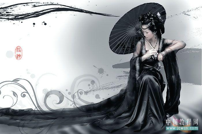 黑白命令打造古装美女水墨画效   笔墨人物水墨画诗词古装...