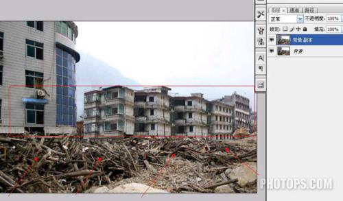 photoshop让地震后的废墟再现辉煌