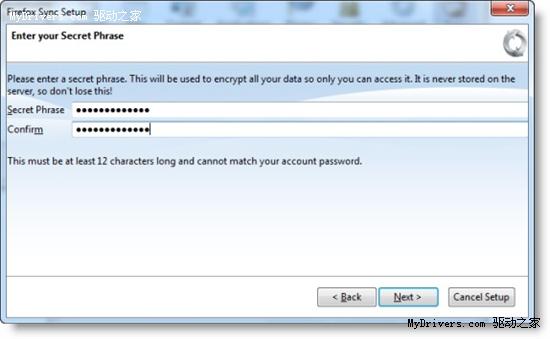 选择同步哪些数据,Firefox Sync默认同步所有信息   Firefox Sync今后会自动将浏览器的所有数据同步到Mozilla服务上,用户无需进行任何操作。   在Firefox中安装Firefox Sync后,iPhone或是iPod touch用户就可以到在线商店中下载Firefox Home。代开该程序,页面会提示你使用Firefox Sync账号登录,选择我已拥有一个Sync账号,然后输入用户名、密码、暗语。完成登录后,Firefox Home会从Firefox Sync账户中复制所有